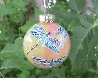Hand painted Christmas  ornament, personalized, dragonflies 365