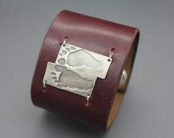 Baby Footprint Bracelet, Baby Footprint Jewelry, Custom Footprint Bracelet, Silver Footprint Jewelry, Baby Footprint Cuff, Leather Cuff