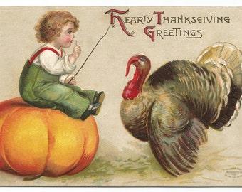 Toddler Boy Sitting on Cinderella Pumpkin Trying to Trick a Turkey Vintage Postcard Thanksgiving Postcard Old Postcard