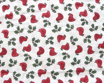 Christmas Red Robin Fabric with Mistletoe  . Scrap Quilting Fabric . Thin Cotton . Cute Adorable . Navidad Material