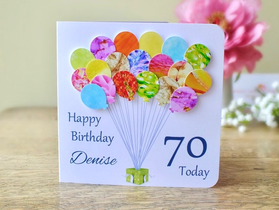 70th birthday card personalised age 70 birthday balloons like this item bookmarktalkfo Image collections
