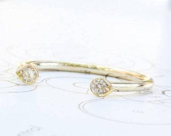 30% OFF SALE - Diamond horseshoe ring, Dual Stone Ring, Dual Diamond Ring, Open Diamond Ring, Open Ring, Gold Horseshoe Ring, Open Ring