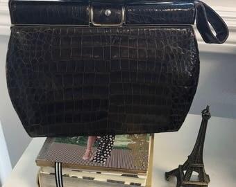 60'S Vintage Kelly Handbag 100% Genuine Crocodile Dk Brown