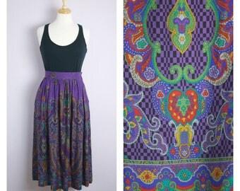 Vintage 1980's Purple Paisley Midi Skirt M