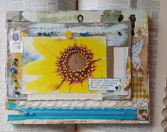 Luxury of the Sunbeams sunflower art mixed media collage/assemblage by Jodene Shaw with sunflower photo Helen Keller quote