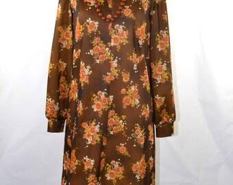 1970s Brown Floral Shift Dress, Long Sleeve House Dress, VOLUP Vintage