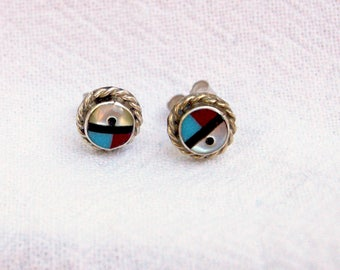 Vintage Zuni Sun Face Earrings Sterling Silver Turquoise Native American Jewelry Modernist Studs