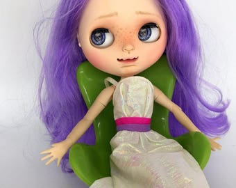 Custom Blythe Doll faceplate custom made by SpookyKidsWorkshop Purple hair BJD sweet and goofy