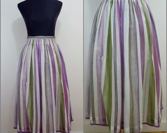 VINTAGE Bohemian German Austrian Pastel Stripe DIRNDL Folk Skirt Uk/12 Fr/40 /Tyrolean /Swing
