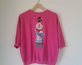 Vintage Hot pink Sweatshirt / Native American Sweatshirt / Native american shirt / native top / american indian sweatshirt / tribal top