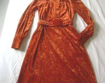 Pumpkin Orange Crushed Velvet 1970s Long Maxi Dress with Matching Belt UK 8 US 4