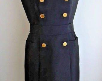Madeleine De Rauch Paris Silk Wool Blend Sleeveless 1960s French Couture Dress UK 12-14 US 8-10