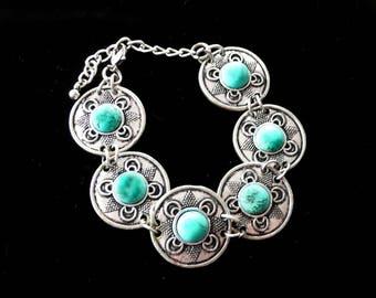 Turquoise Stone Bracelet Chunky Gorgeous Vintage