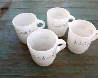 Fire King Starburst Stacking Mugs, Set of 4 Mugs, Vintage Fire King Mugs, Anchor Hocking Mugs, Starburst Mugs, Retro Kitchen, Coffee, Diner