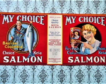 1930s My Choice Salmon Can Label Vancouver Canada