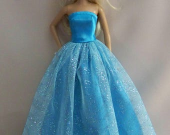 Handmade Barbie Clothes-Turquoise Satin with Glitter Tulle Barbie Gown