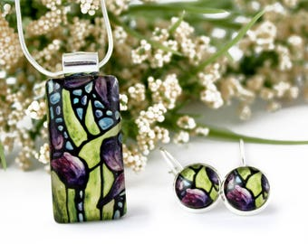 Iris Jewelry Set - Purple Iris Necklace & Earrings - Floral Glass Pendant - Stained Glass Flower Jewelry - Art Nouveau Charm - Iris Earrings