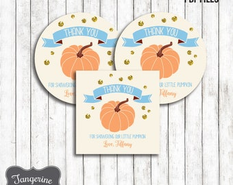 Little Pumpkin Baby Shower Favor Tags, Pumpkin Favors, Thank You Tags, Printable Favor Tags, Personalized, Printable PDF File