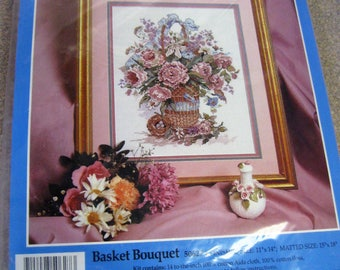 """Candamar Designs Counted Cross Stitch Kit, Basket Bouquet 50627 Finished Size 11"""" x 14"""" new unopened package"""