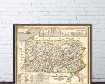 Pennsylvania map - Old map of Pennsylvania archival reproduction