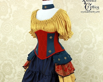 """Wonder Woman Inspired Steampunk Steel Boned Waspie Corset w/Solid Front -- Corset Size 32, Fits Waist 35""""-37"""" -- Ready to Ship"""