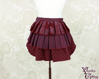 "Steampunk Ruffle Bustle Overskirt - Aubergine & Burgundy - 3 Layer, Sz. XS - Fits up to 35"" Waist/Upper Hip -- Ready to Ship"