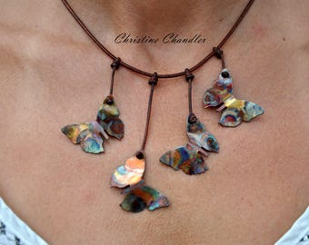 Butterfly Necklace - Flame Painted Copper and Leather Necklace - Butterfly Jewelry - Copper Jewelry - Leather Jewelry - Christine Chandler