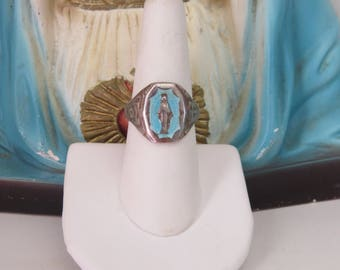Vintage Unique 925 Enamel Miraculous Medal Mother Child Unisex VIRGIN MARY JESUS Ring--  weighs 4.2g- Adjustable