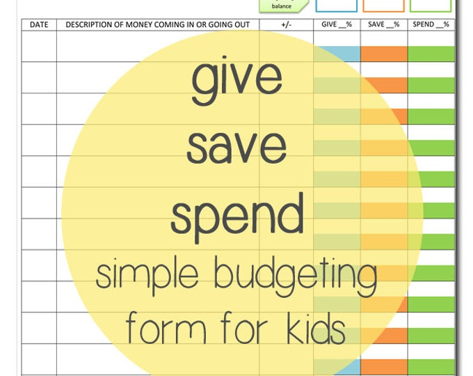 Give save spend budget sheet printable for kids | instant download