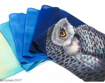 "Hand painted silk scarf. Snowy Owl Silk Scarf. 8x51"" Snowy owl scarf. Silk scarf handpainted. Hand painted silk scarves~Painted silk scarves"