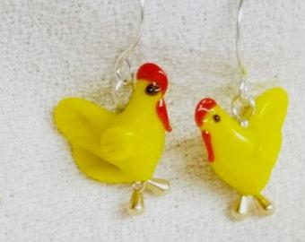 Little Yellow Hen Glass Chicken Earrings Sterling Silver Ear Wires