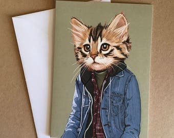 Kevin - Greeting Card - Blank Inside - Cats In Clothes