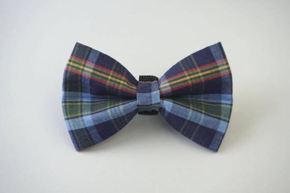 Blue Plaid Dog Bow Tie