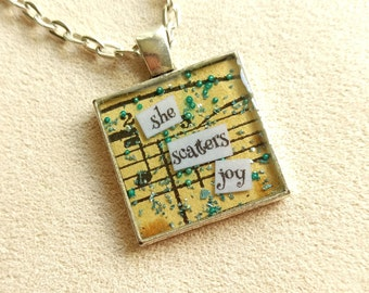 She Scatters Joy - Vintage Art Pendant - Small Square - Inspirational Message - FREE SHIPPING