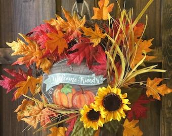"Fall Wreath / Grapevine ""Welcome Friends"" Wreath / Fall Leaves Wreath"