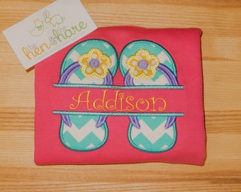 Flip Flop Sandals Summer Beach Water Pool personalized shirt or onesie name initials monogram embroidered applique custom made party present