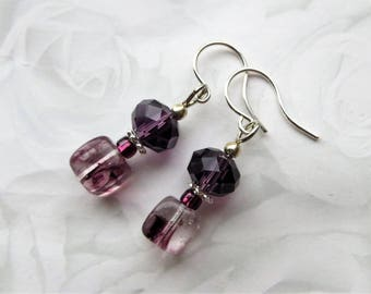 AMETHYST CRYSTALS- Dangle Beaded Earrings- Glass Beads and Sparkling Crystals- Silver Plated Ear Wires- Bridal Jewelry