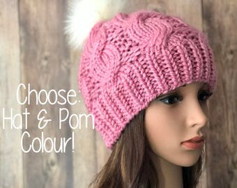 Knit Womans Hat, Chunky Cable Knit Beanie with Pom Pom, Teen Knit Hat, Teen or Womans Toque, Winter Accessory, Faux Fur Pom Pom Hat