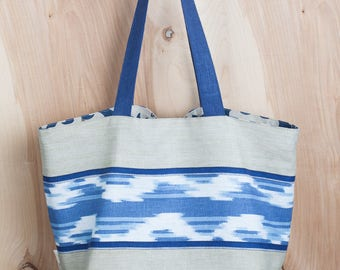 Cotton and Linen Beach Tote- Ikat Tote bag- Blue, natural and white IKAT stripe- by beckyzimmdesign