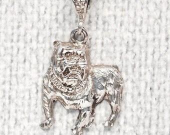 Sterling Silver Vintage Dog Pendant, Bulldog Charm. 18 Inch Box Chain, Key Chain