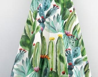 Blooming Cactus Maxi lenght circle skirt , Vintage inspired custom made cactus print skirt maxi lenght