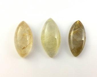 Rutilated Quartz Semiprecious Gemstone Cabochons   Lot of 3