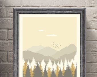 Parks & Recreation - Pawnee National Park Art Poster Print Minimalist Poster -Tv Print, Film Poster Art Print Home Decor Wall Art