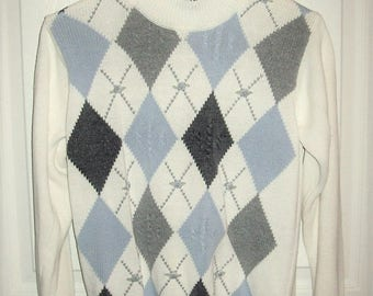 Vintage Ladies Multi Color Argyle Pullover Sweater by Alfred Dunner Petite Small Only 7 USD