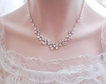 Brides pearl necklace, Cubic Zirconia Wedding Necklace, Marquise cut, Leaf design~ Pearl wedding necklace, Bridal necklace, Stunning ~LILLY