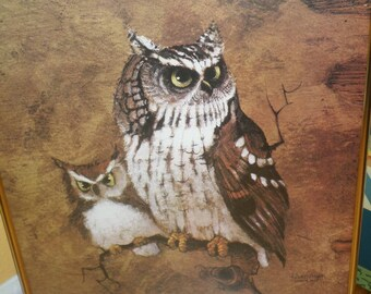Signed SCREECH OWL, by Hinget, 1990's Print