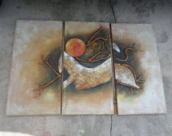 3 Panel/TRIPTYCH/SIGNED/HORSE/Mixed Medium/Headless Horse/Burning Sun