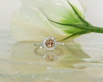 September Birthstone Ring, Orange Sapphire Ring, Sapphire Ring, Sapphire Halo Ring, Sapphire Sterling Ring, Sapphire Silver Ring, Sapphire