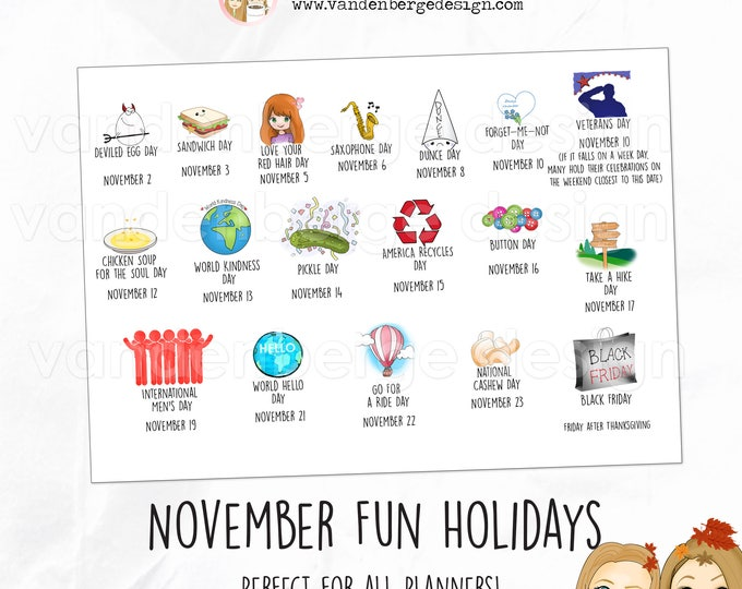 Planner Calendar Stickers - November Fun Holidays - Perfect for all planners! Silly Fun Holidays