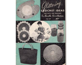 Vintage 1960s Glittering Crochet Ideas for Gifts and Bazaars Bucilla Twinklesheen Vol 159 Crochet Patterns Pretty Apron Purse Cushion More